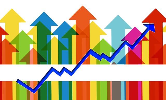 矢印。収益増大化の図。